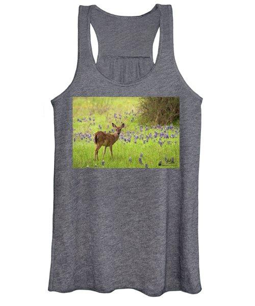 Deer In The Bluebonnets Women's Tank Top