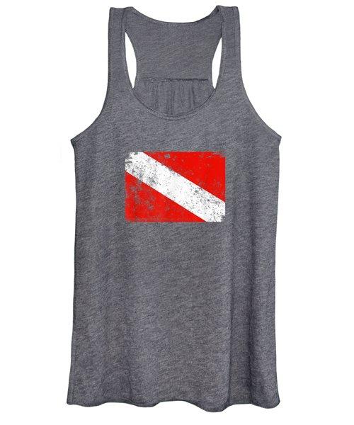 Dive Flag Shirt Vintage Worn Scuba Diving T-shirt Women's Tank Top