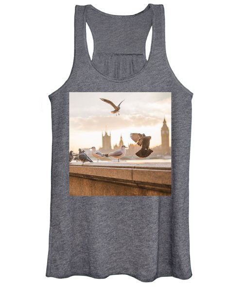 Doves And Seagulls Over The Thames In London Women's Tank Top
