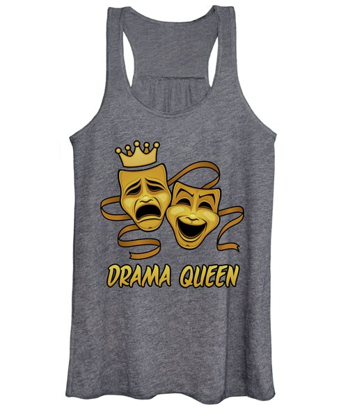 Drama Queen Comedy And Tragedy Gold Theater Masks Women's Tank Top