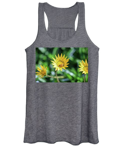 Yellow Flowers And A Bee Women's Tank Top