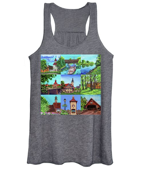 Frankenmuth Downtown Michigan Painting Collage IIi Women's Tank Top