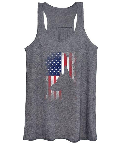 German Shepherd American Flag Shirt Usa Patriotic Dog Gift Women's Tank Top