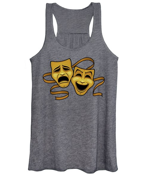 Gold Comedy And Tragedy Theater Masks Women's Tank Top