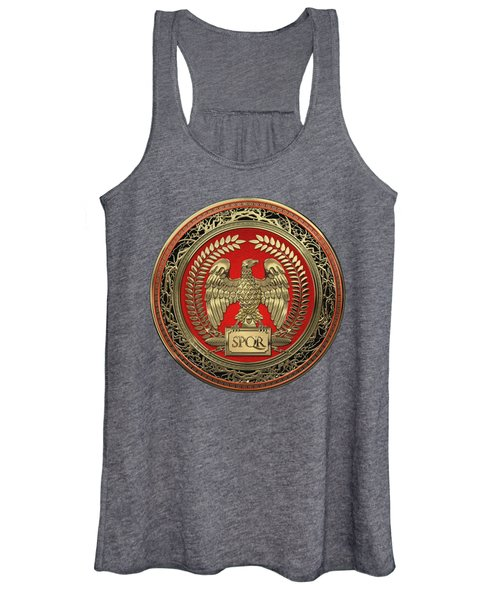 Gold Roman Imperial Eagle Over Black Leather Women's Tank Top