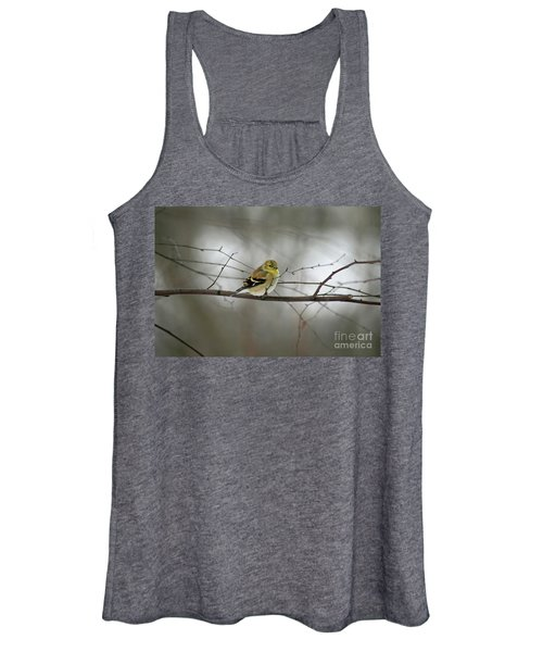 Goldfinch In Winter Looking At You Women's Tank Top