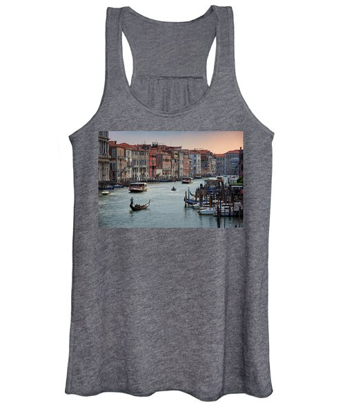 Grand Canal Gondolier Venice Italy Sunset Women's Tank Top
