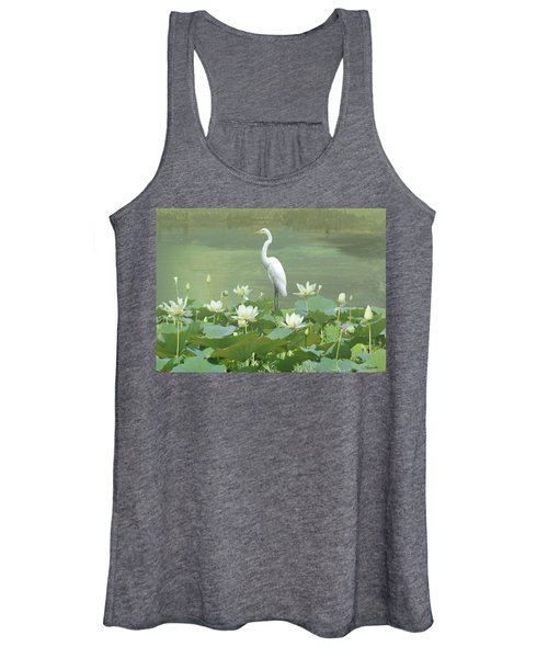 Great Egret And Lotus Flowers Women's Tank Top
