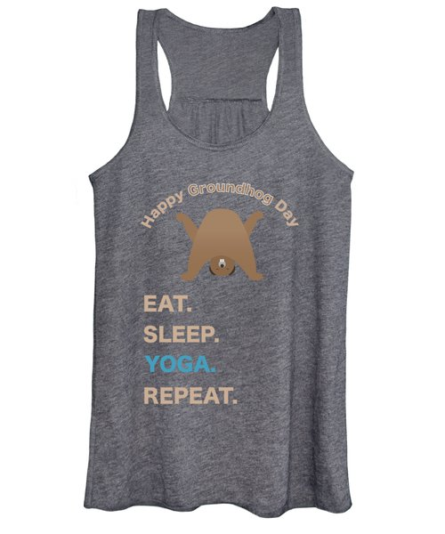 Groundhog Day Eat Sleep Yoga Repeat Women's Tank Top