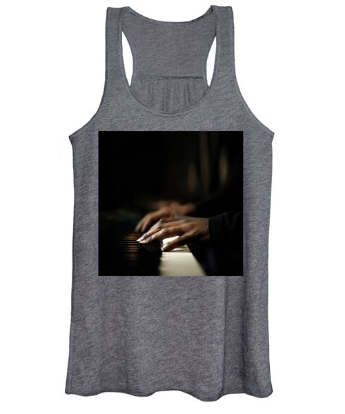 Hands Playing Piano Close-up Women's Tank Top