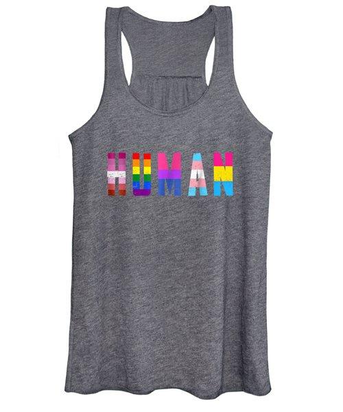 Human Flag Lgbt Gay Pride Month Transgender T Shirt Women's Tank Top