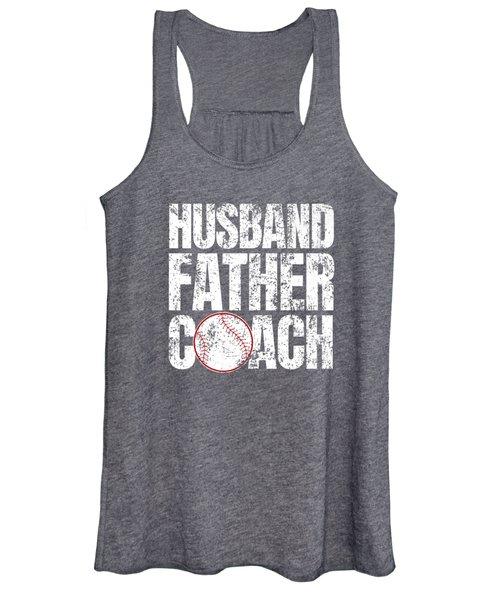 Husband Father Baseball Coach Fathers Day Premium T-shirt Women's Tank Top