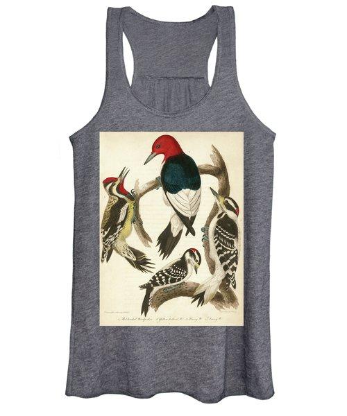 1. Red-headed Woodpecker. 2. Yellow-bellied Woodpecker. 3. Hairy Woodpecker. 4. Downy Woodpecker. Women's Tank Top