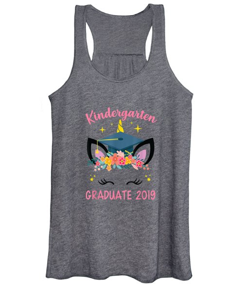 Kindergarten Graduate 2019 Cute Unicorn Face Shirt For Girl Women's Tank Top