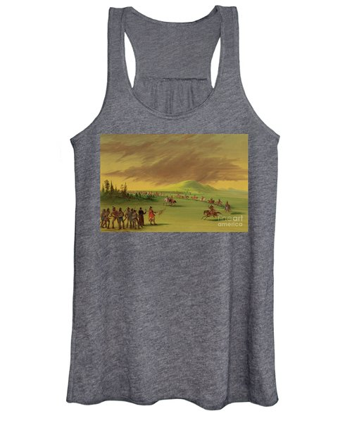 Lasalle Meets On The Prairie Of Texas, A War Party Of Cenis Indians, April 25th, 1686. Women's Tank Top