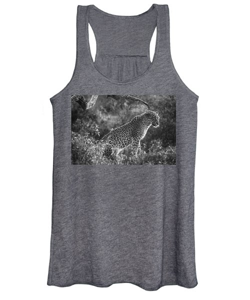 Leopard Sitting Black And White Women's Tank Top