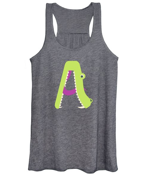 Letter A - Animal Alphabet - Alligator Monogram Women's Tank Top