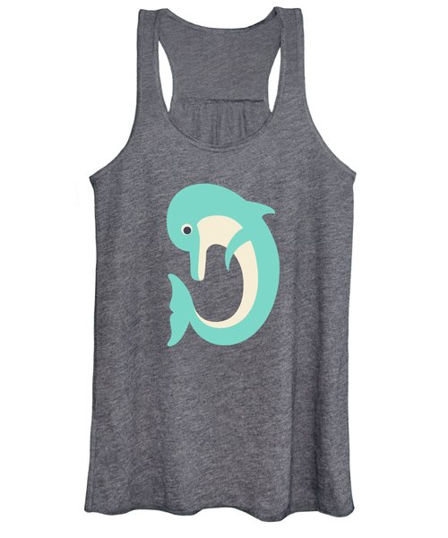 Letter D - Animal Alphabet - Dolphin Monogram Women's Tank Top