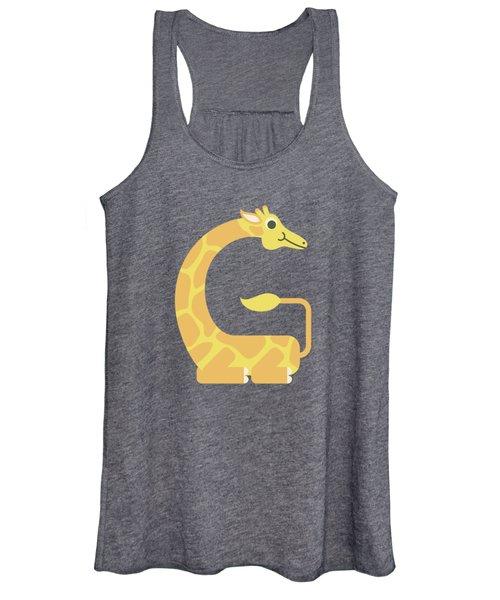 Letter G - Animal Alphabet - Giraffe Monogram Women's Tank Top