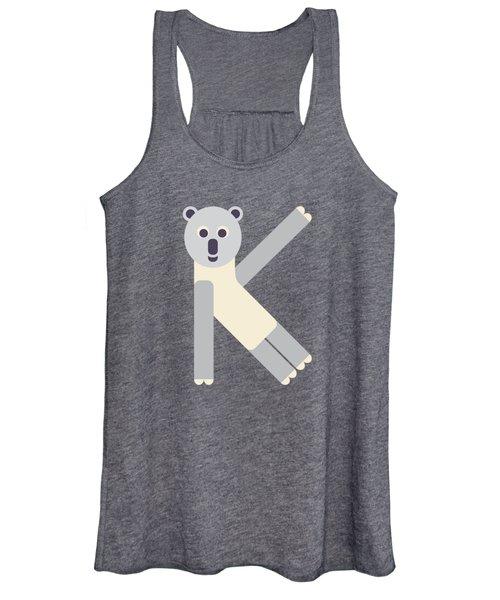 Letter K - Animal Alphabet - Koala Monogram Women's Tank Top