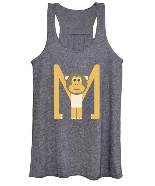 Letter M - Animal Alphabet - Monkey Monogram Women's Tank Top
