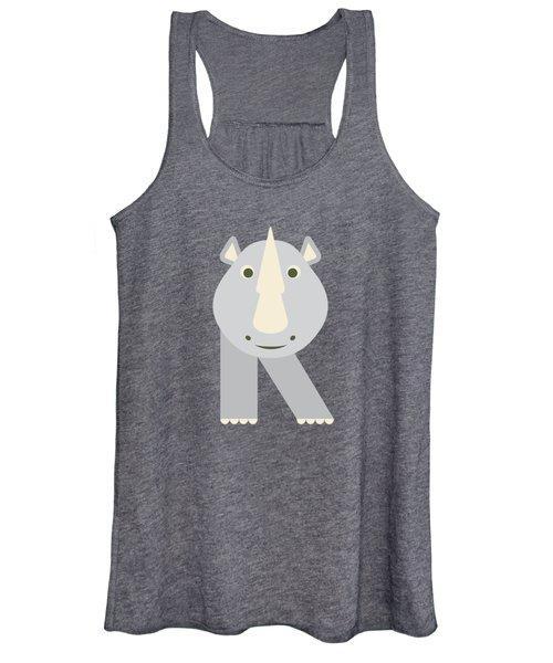 Letter R - Animal Alphabet - Rhino Monogram Women's Tank Top