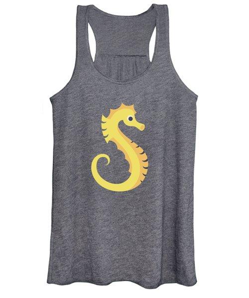 Letter S - Animal Alphabet - Seahorse Monogram Women's Tank Top