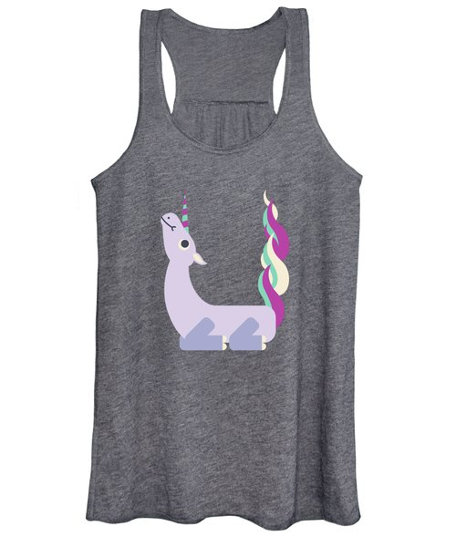Letter U - Animal Alphabet - Unicorn Monogram Women's Tank Top