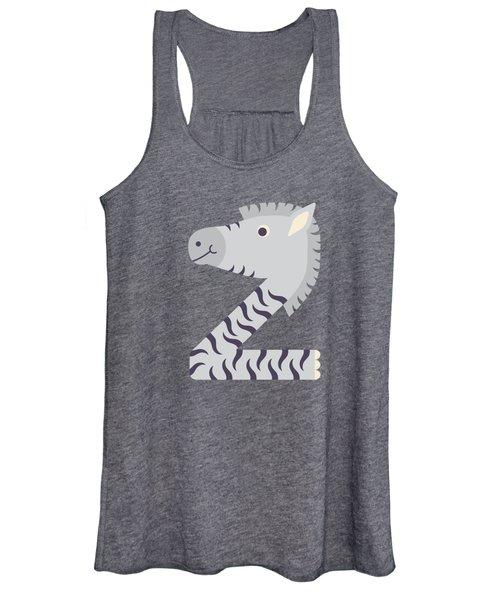 Letter Z - Animal Alphabet - Zebra Monogram Women's Tank Top