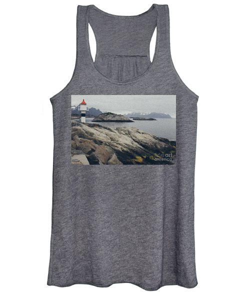 Lighthouse On Rocks Near The Atlantic Coast, Digital Art Oil Pai Women's Tank Top