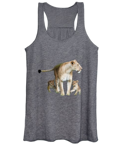 Lioness And Her Cubs Playing  Women's Tank Top