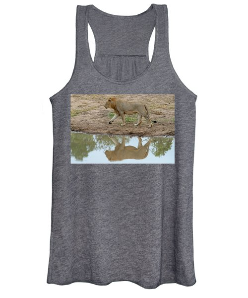 Male Lion And His Reflection Women's Tank Top