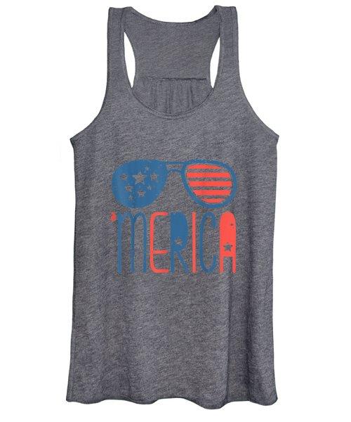 Merica American Flag Aviators Toddler Tshirt 4th July White Women's Tank Top