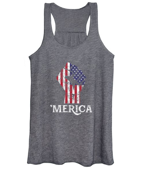 Merica American Flag Shirt- 4th July Independence Day Tshirt Women's Tank Top