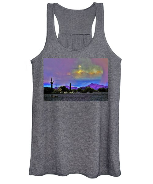 Moon At Sunset In The Desert Women's Tank Top