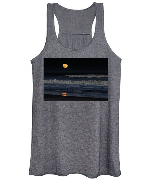 Moonrise Over Assateague Island Beach Women's Tank Top