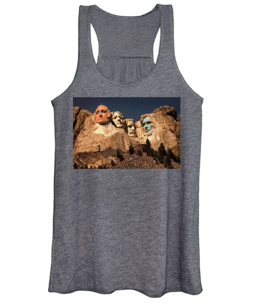 Mount Rushmore Red And Blue Drawing Women's Tank Top