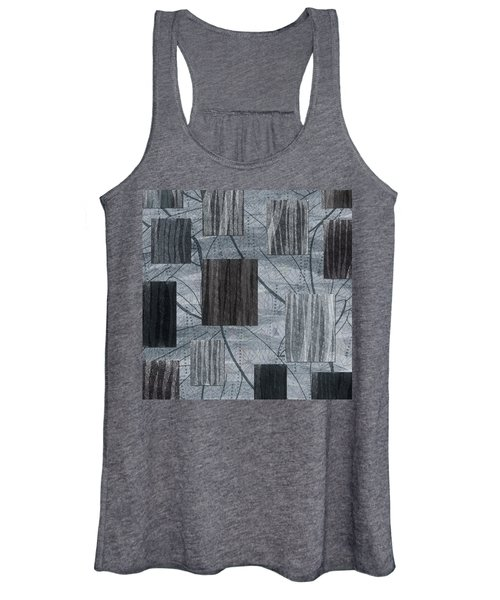 Neutral Toned Leaf Square Print Women's Tank Top