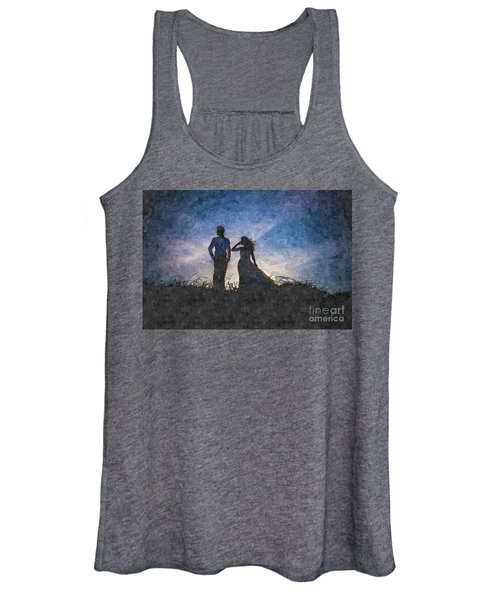 Newlywed Couple After Their Wedding At Sunset, Digital Art Oil P Women's Tank Top
