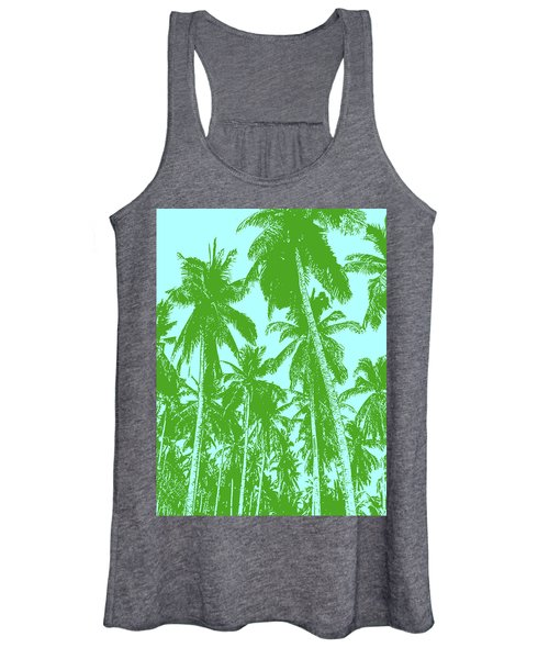 Palm Trees In Green And Blue Women's Tank Top