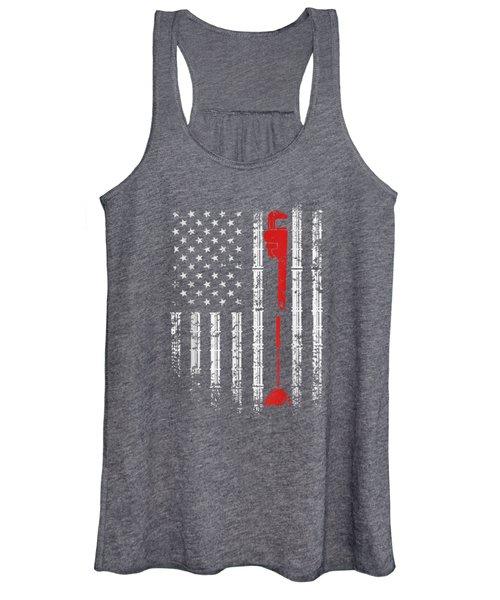 Plumber American Flag, Vintage T-shirt Women's Tank Top