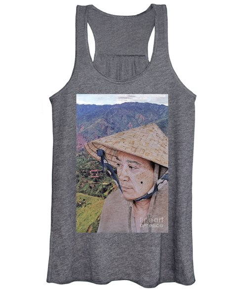 Portrait Of An Attractive Filipina Woman With A Mole On Her Cheek And Wearing A  Salakot Hat  Women's Tank Top