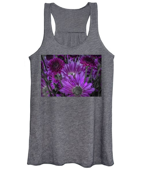 Purple Power Chrysanthem Selective Colorum  Women's Tank Top