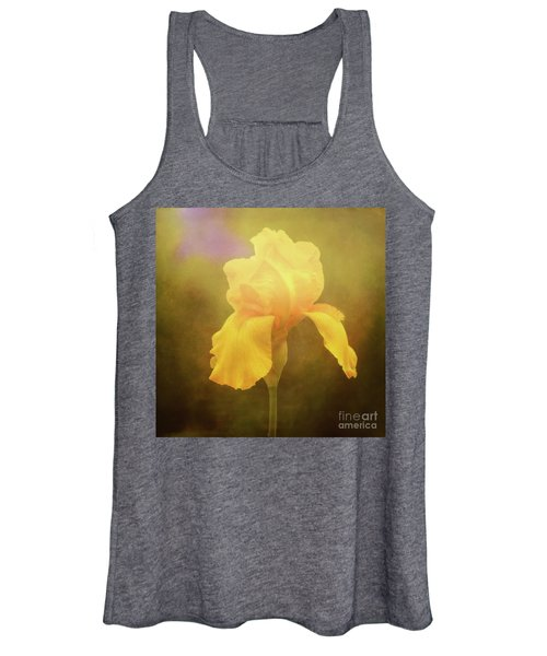 Radiant Yellow Iris With A Vintage Touch Women's Tank Top