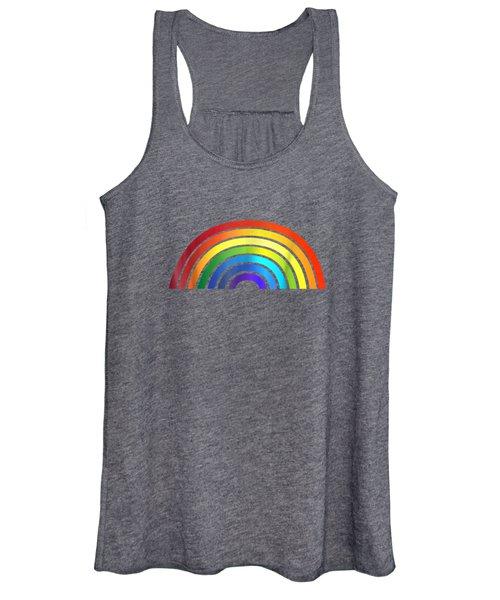 Rainbow T-shirt Simple Style Basic Glossy Stripe Design Women's Tank Top