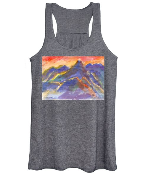 Women's Tank Top featuring the painting Red Sunset In The Mountains by Irina Dobrotsvet