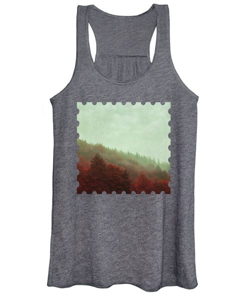 Retro Red Forest In Fog Women's Tank Top
