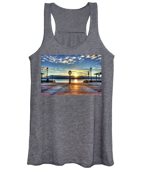 Revere Beach Clock At Sunrise Angled Long Shadow Revere Ma Women's Tank Top