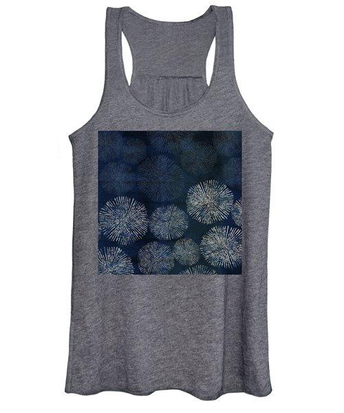 Shibori Sea Urchin Burst Pattern Dark Denim Women's Tank Top