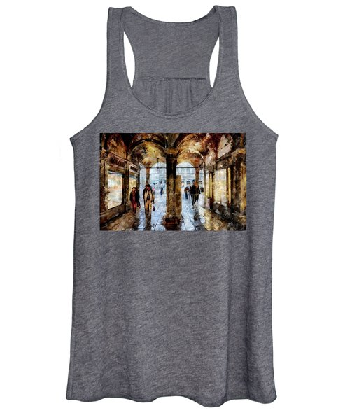 Shopping Area Of Saint Mark Square In Venice, Italy - Watercolor Effect Women's Tank Top